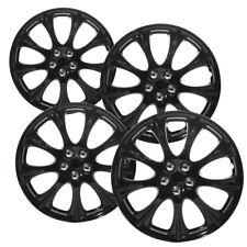 "4 Pc Set of 14"" Ice Black Hub Caps Full Lug Skin Rim Cover for OEM Steel Wheels"