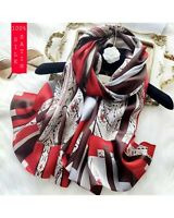 """100% Mulberry Silk/satin  Large Long White Flower Scarves Shawl 69""""*26"""" Gifts"""