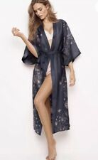 Victoria's Secret  Long Satin Kimono Robe 2018 Metropolis NEW Grey Floral M L