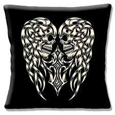 "Two Celtic Skulls Cushion Cover 16""x16"" 40cm Retro Day of the Dead Tattoo Style"