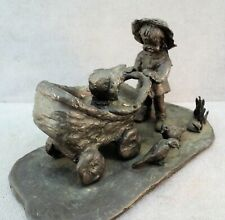 MidCentury MODERNIST Sculpture GIRL & BABY in Carriage BRONZE Betsy Hamaker VTG