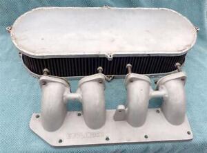 Esslinger Aluminum Intake Manifold 2.3L Ford Dual Weber Carburetor & Air Cleaner