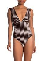 L Space Sunscape One Piece Swimsuit Black Metallic Stripe Size 12
