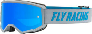 Fly Racing Kids Youth Zone Goggles   Grey/Blue/Blue Mirror/Smoke Lens