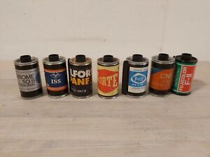 vintage Camera photo film empty case 1960's lot of 7 different ones
