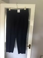 Ladies New Navy M&S Classic Elasticated Waist Trousers Size 22L Stitched Crease