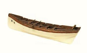 19thc American Hand Carved Sailor Made Longboat Miniature Maritime Folk Art