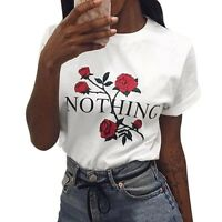 Fashion Women Lady Crew Neck Casual T-Shirt Rose Printed Short Sleeve Top Blouse
