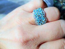 Neon blau Apatit Ring aus 925 Sterlingsilber mit 585 Weißgold vergoldet reich be