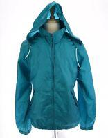 Eddie Bauer Mens Nylon Vented Hooded Packable Windbreaker Jacket Turq Blue Sz XL