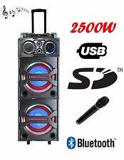 Torre Caja de Altavoces Portátil Activo 2500W Bluetooth USB SD Radio con Carro