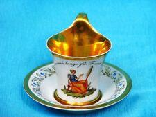 """Meissen taza con platillo """"hilandera en paisaje"""" Cup and volador para 1870"""