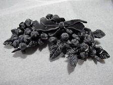 Vintage black velvette fruits leaves & bow millinery fascinator Lenore Marshall