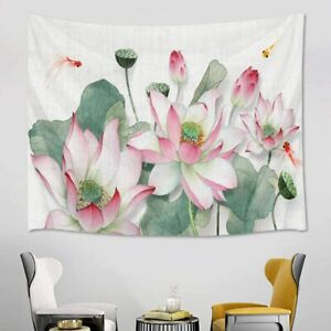 Pink Watercolor Lotus Green Leaf Goldfish Tapestry Wall Hanging Bedspread Cover