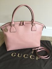 GUCCI PINK LEATHER HAND SHOULDER TOTE BAG MADE IN ITALY + LOGO DUSTBAG