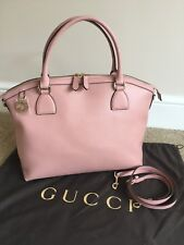 GUCCI PINK LEATHER HAND SHOULDER TOTE BAG WITH GG LOGO CHARM MADE IN ITALY