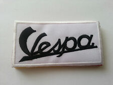 VESPA SCOOTER RALLY MOD SEW / IRON ON PATCH:- VESPA (a) WHITE STRIPE
