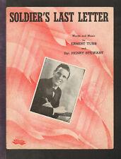 Soldier's Last Letter 1944 Ernest Tubb WWII Cowboy C&W Vintage Sheet Music Q19