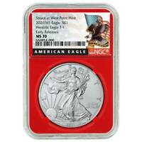 2021 (W) $1 American Silver Eagle NGC MS70 Black ER Label Red Core