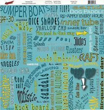 Moxxie - Water Fun Carnival Scrapbooking  Paper - Bumper Boats Swim Wave Pool