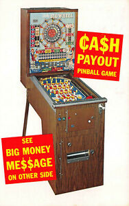 "Chicago IL ""Nevada Big Wheel"" Cash Payout Pinball Game Machine Gambling Postcard"