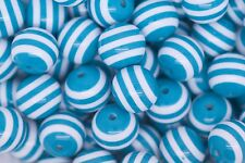 Turquoise Striped 20mm Chunky Acrylic Beads 10 ct for Bubblegum Necklace