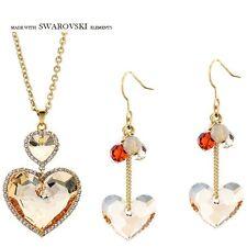 Cristalli Swarovski Element cuore in oro champagne collana gioielli Orecchini Set
