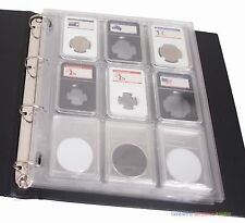 5 Album Stock Page Encap Sheet (4 Binder Hole) for 9 PCGS NGC Coin Slabs Holder