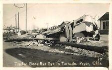c1940 Trailer damaged from Tornado, Pryor, Oklahoma Real Photo Postcard/RPPC