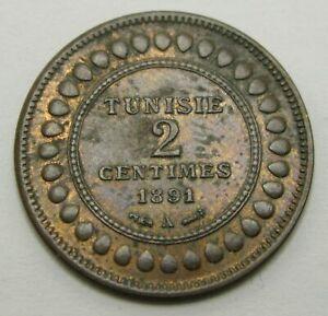 TUNISIA 2 Centimes AH1308//1891A - Bronze - XF/aUNC - 1011