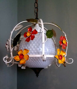 Vintage Tole Chandelier Pendant Mid Century Modern Original Floral Flowers Lamp