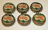Vintage Lot (6) Bubble Up Lemon Lime Soda Cork Lined Bottle Caps (Rare Version)