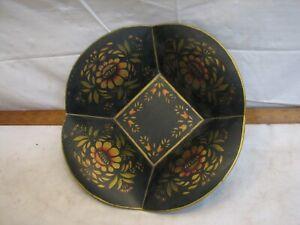 Tole Painted Metal Centerpiece Fruit Apple Bowl Tin Folk Art Lancaster PA Dutch