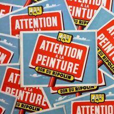 Affiche Affichette Peinture Attention Papier Ripolin Ancienne Imprimerie 1960
