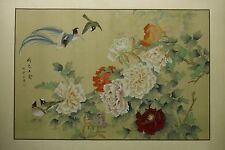 "Peonies and birds – Chinese painting on silk 36""x24"" / 30""x20"" ref 88D-96C"