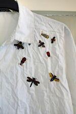 Zara Basic, Hemd Bluse, Insekten Stickereien, weiß, M, 38