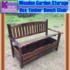 Wooden Garden Storage Box Timber Bench Chair Outdoor Furniture 2 Seat Chair