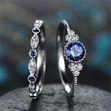 2Pcs Fashion Silver Round Cut Sapphire Rings Women Wedding Jewelry Size 6-10