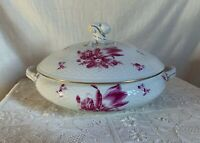"Herend round Tureen. 11"" d. Raspberry  tulip bouquet on white background 1941."