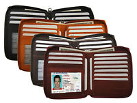 Genuine Leather Men ID Card Zip Around Safe Bifold Tall Wallet Hip Cards Holder