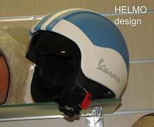 Casco Vespa Vintage visiera interna scomparsa personalizzato in pelle azzurro