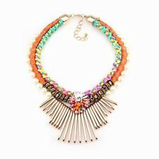 Colorful Neon Rope Chain Gold Charm Bib Pearl Flower Necklace For Women Jewelry