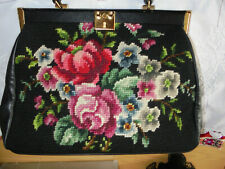 Damenhandtasche - Gobelin - schwarz