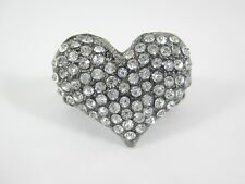 One New Bling Heart Shaped Stretch Ring Loaded With Crytals NWT #R1198