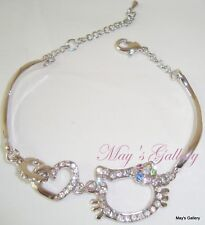 Hello Kitty Rhinestone  Bracelet Bangle Silver NEw Bling Bling Charms Charm