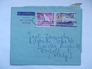 SINGAPORE MALAYA AIR LETTER 1959 air mail Trieste vecchia busta posta aerea 2