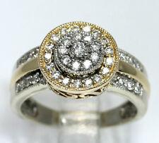 Diamond cluster halo ring 14K 2 tone gold 39 round brilliants .50CT 6 GM sz 7.25