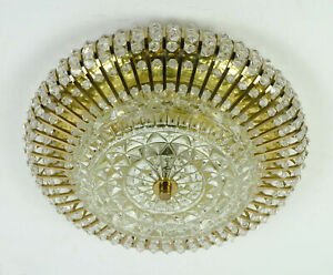 1960s palwa CEILING LAMP ceiling fixture brass glass hollywood regency style