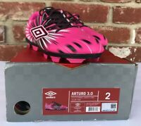 Umbro Arturo 3.0 Neon Bright Pink Soccer Cleats Shoes Youth Boys Girls Size 2