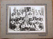 Cuba/Cuban 1940 Girl's School Photograph w/Black Students, 10x7.5 on Board